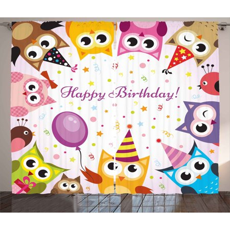 Kids Birthday Curtains 2 Panels Set, Birthday Party Owl Family with Colorful Cone Hats on Confetti Backdrop Art, Window Drapes for Living Room Bedroom, 108W X 63L Inches, Multicolor, by Ambesonne - Owl Birthday Party Supplies