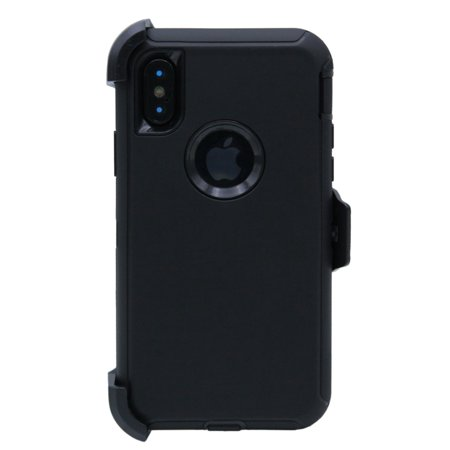 WallSkiN Turtle Series Cases for iPhone X (Only) Tough Protection with Kickstand & Holster - Belt Clip Works with Otterbox Defender Series Cases - Shadow (Black/Black)