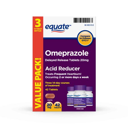 (2 Pack) Equate Acid Reducer Omeprazole Delayed Release Tablets, 20 mg, 42 Ct, 3 Pk - Treat Frequent - Circle Reducer