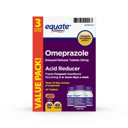(2 Pack) Equate Acid Reducer Omeprazole Delayed Release Tablets, 20 mg, 42 Ct, 3 Pk - Treat Frequent