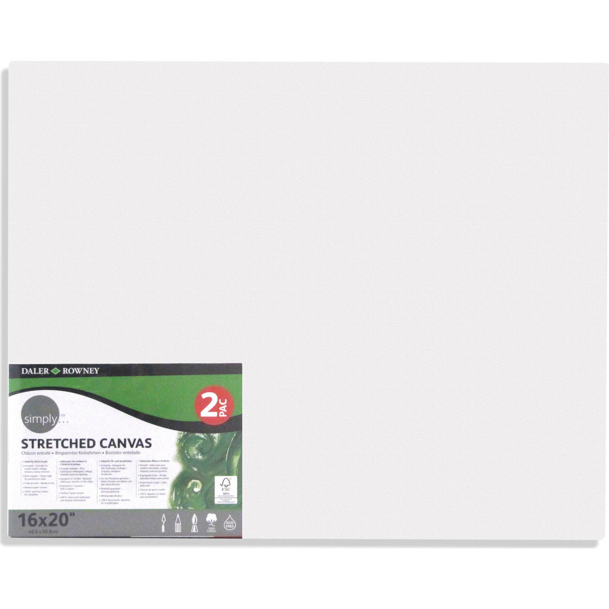 Daler-Rowney Simply Stretched Canvas Pack, 2 Piece