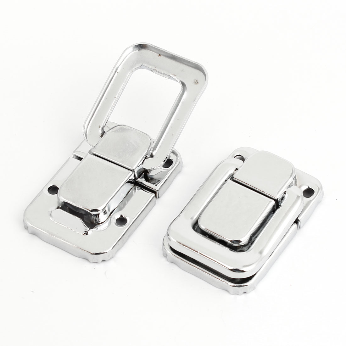 2pcs Chest Boxes Case 48mm x 32mm Silver Tone Toggle Catch Latch