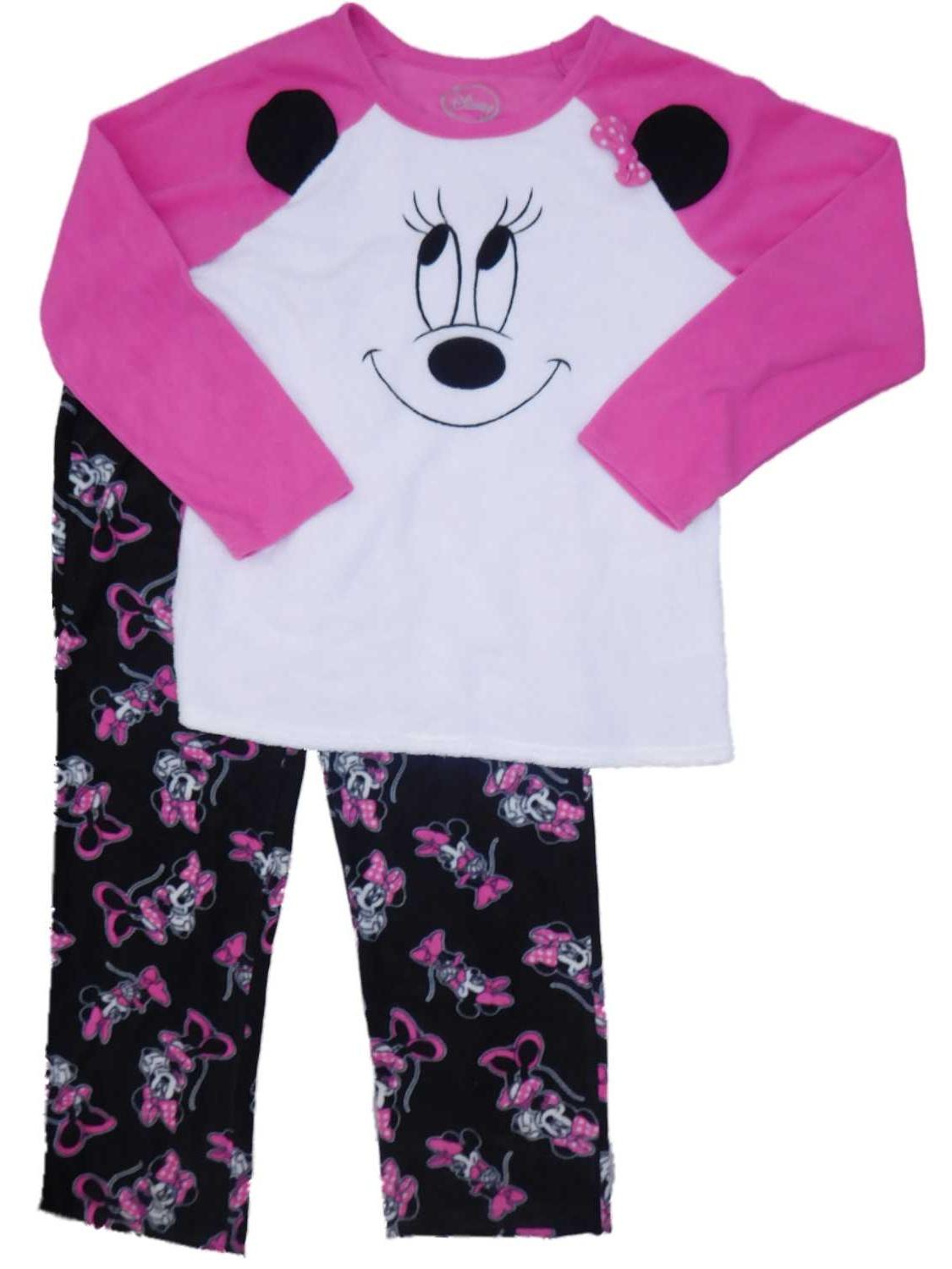 Womens Disney Minnie Mouse Fleece Face Pajamas Sleep Set