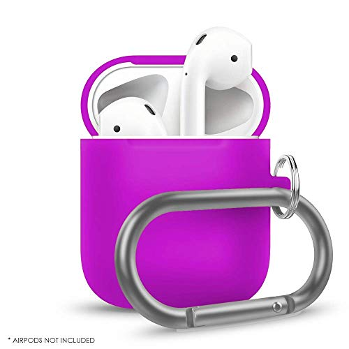 Airpods Case, Protective Silicone Case AirPods Cover with Anti-Lost Carabiner [Compatible with AirPods 2 & 1][AirPods 1 Fitting Tested][Extra Protection] Charging Accessories (Lavender) Airpods Case, Protective Silicone Case AirPods Cover with Anti-Lost Carabiner [Compatible with AirPods 2 & 1][AirPods 1 Fitting Tested][Extra Protection] Charging Accessories (Lavender)