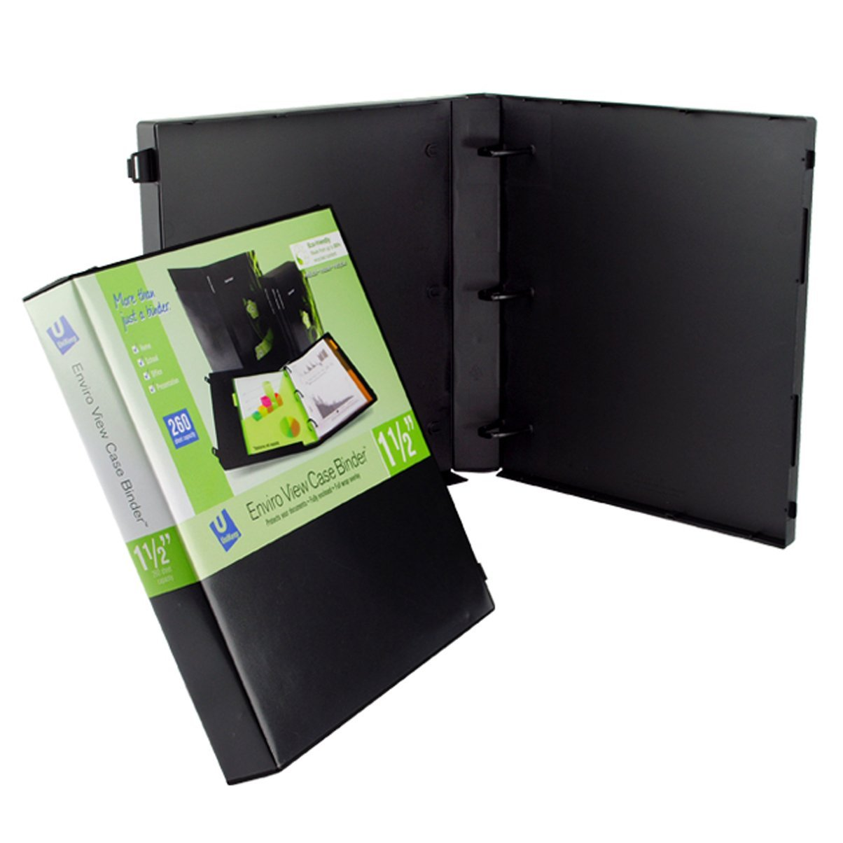 UniKeep 3 Ring Binder Black Case View Binder 1.5 Inch Spine With Clear Outer Overlay Box of 15 Binders by Unikeep