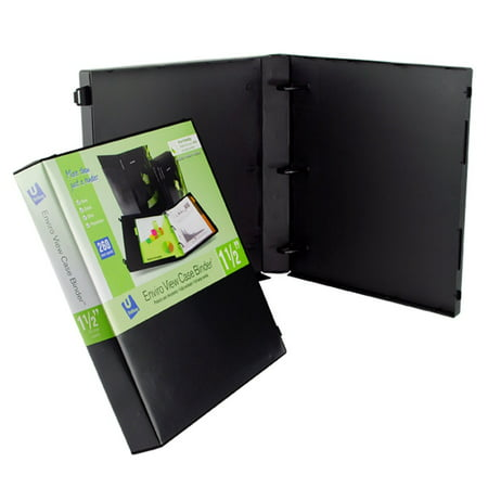 UniKeep 3 Ring Binder - Black - Case View Binder - 1.5 Inch Spine - With Clear Outer Overlay - Box of 15 (Clear View Overlay)