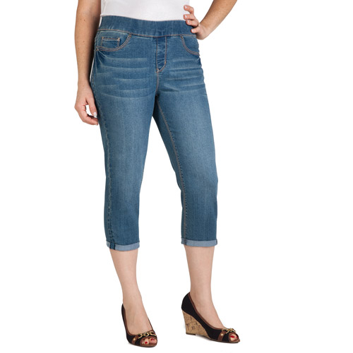 Faded Glory Women's Pull-On 5-Pocket Denim Capri - Walmart.com