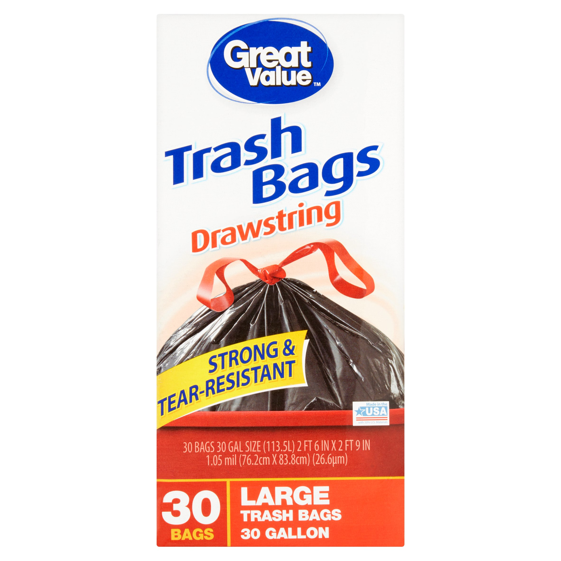 Great Value Drawstring Trash Bags, 30 Gallon, 30 count