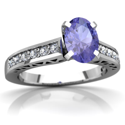 Tanzanite Art Deco Ring in 14K White Gold by