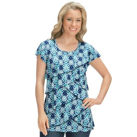 - Women's Tie Dye Print Tiered Ruffle Front Short Sleeve Scoop Neck Top