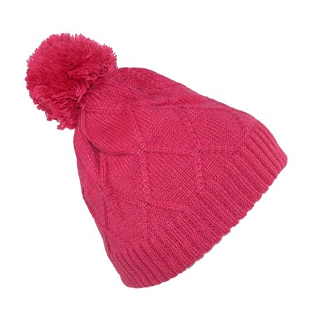 Broner  Girls' Diamond Pattern Cable Knit Beanie Hat with Pom for $<!---->