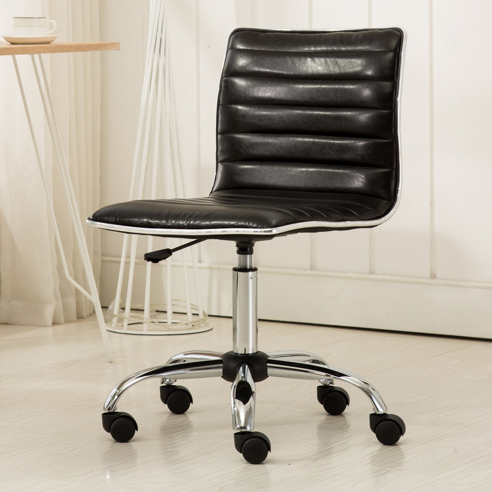 Roundhill Furniture Fremo Chromel Adjustable Air Lift Office Chair, Black