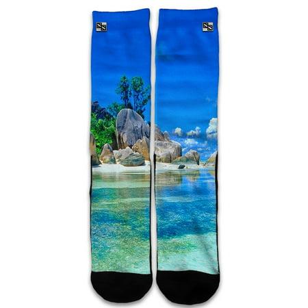 Custom Elite Style Athletic Sport Socks Crew 18 Inch / Island Paradise Beach (Athleta Islands)
