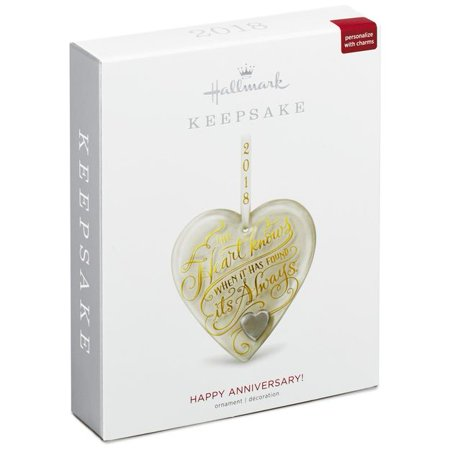 Hallmark Keepsake 2018 Happy Anniversary Heart Glass - Hallmark Halloween Glass Ornaments