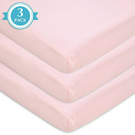 TL Care 100% Cotton Jersey Knit Fitted Bassinet Sheets, Pink 3pk