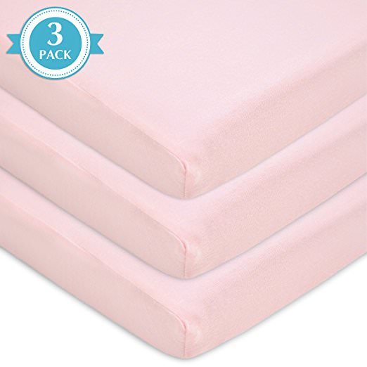 TL Care 3 Piece 100% Cotton Jersey Knit Fitted Bassinet Sheet, Pink