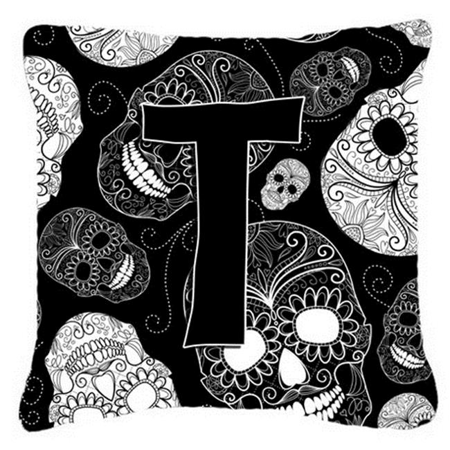 Carolines Treasures CJ2008-TPW1414 Letter T Day Of The Dead Skulls Black Canvas Fabric Decorative Pillow - image 1 of 1