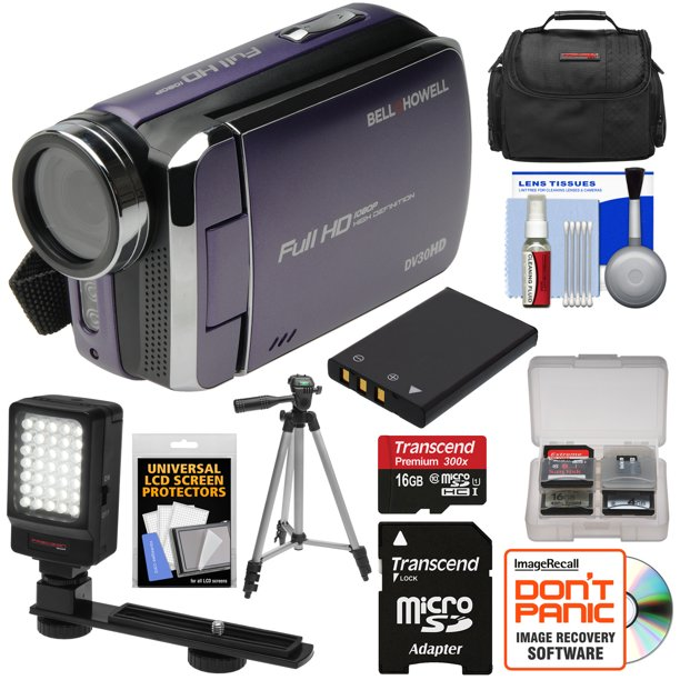 Bell Howell Dv30hd 1080p Hd Video Camera Camcorder Purple With 16gb Card Battery Case Tripod Led Video Light Kit Walmart Com Walmart Com