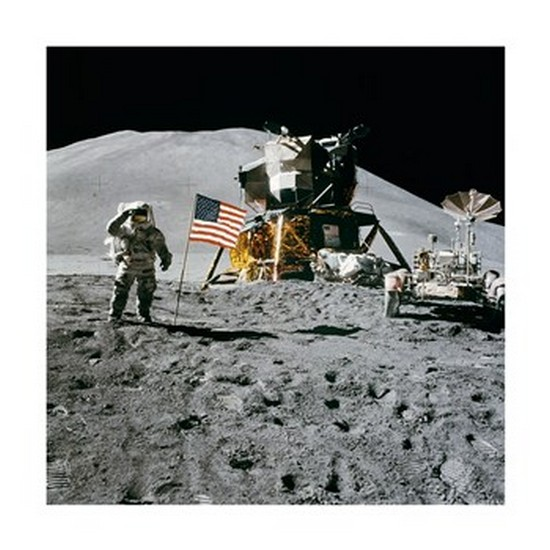 Apollo 15 Lunar Module Pilot James Irwin Salutes the U.S. Flag Poster Print (12 x 12)