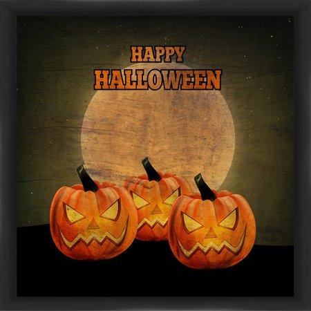 PTM Images Halloween Three Evil Pumpkins Framed Graphic Art