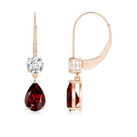 adf6b01844e64 Pear Garnet Leverback Drop Earrings with Diamond in 14K Rose Gold (7x5mm  Garnet) - SE0966GD-RG-AAAA-7x5