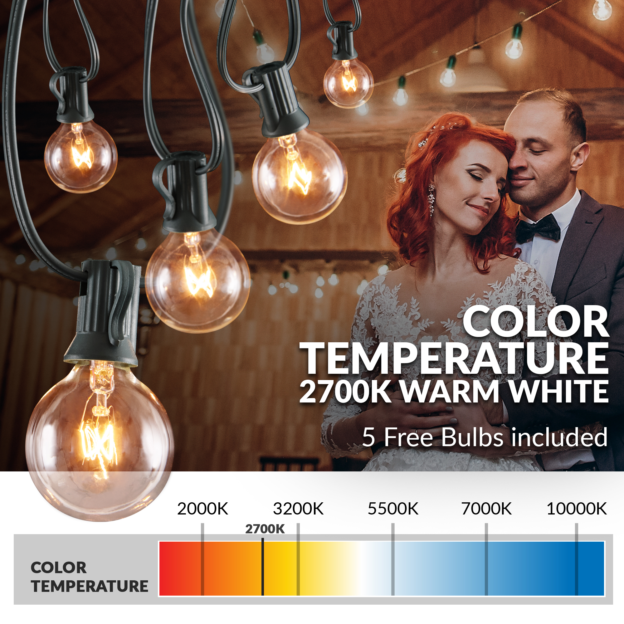 50 Foot 50 Socket Indoor Outdoor Patio String Lights With 55 Incandescent Globe G40 Bulbs 5 Free Bulbs Included Great Wedding Lights Decorations For Patios Porches Backyards Decks Bistros Walmart Com Walmart Com