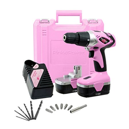 18V Cordless Pink Drill Set for Women With 18 Volt Drill Charger & 2 Batteries ()