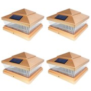 iGlow 4 Pack Copper / White Outdoor Garden 6 x 6 Solar SMD LED Post Deck Cap Square Fence Light Landscape PVC Vinyl Wood