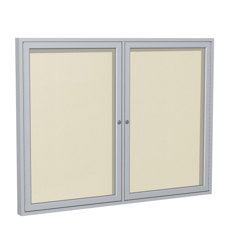 PA23648VX-181 Ghent 2 Door Enclosed Vinyl Bulletin Board with Satin Frame Wall Mounted TackBoard, 3'H x 4'W, Caramel