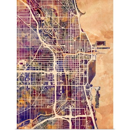 Great BIG Canvas | Rolled Michael Tompsett Poster Print entitled Chicago City Street Map ()