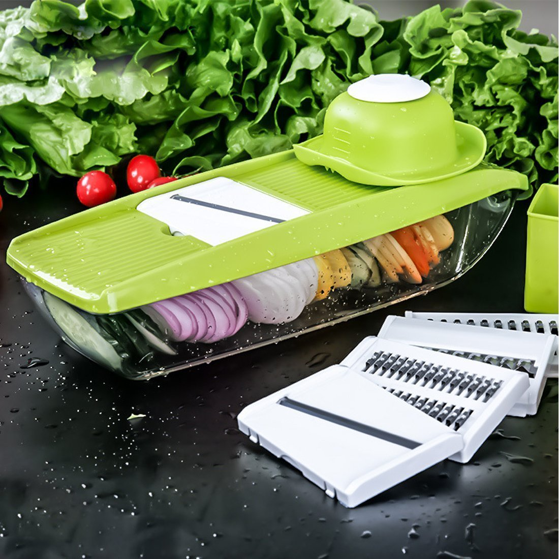 Mandoline Slicer Interchangeable(5-in-1) Adjustable Stainless Steel Blades -Vegetable Peeler Slicer, Food Container