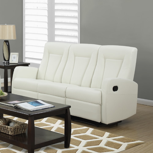 Monarch Reclining Sofa Ivory Bonded Leather
