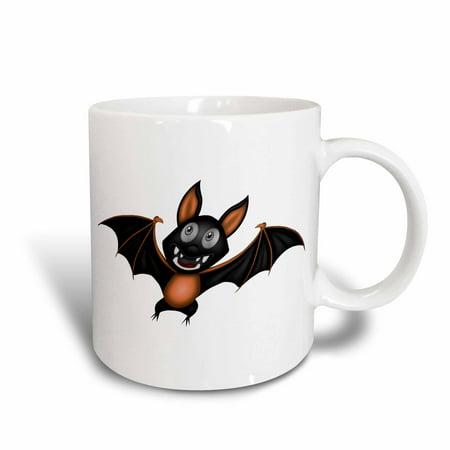 3dRose Cute Orange and Black Halloween Bat Illustration - Ceramic Mug, 11-ounce