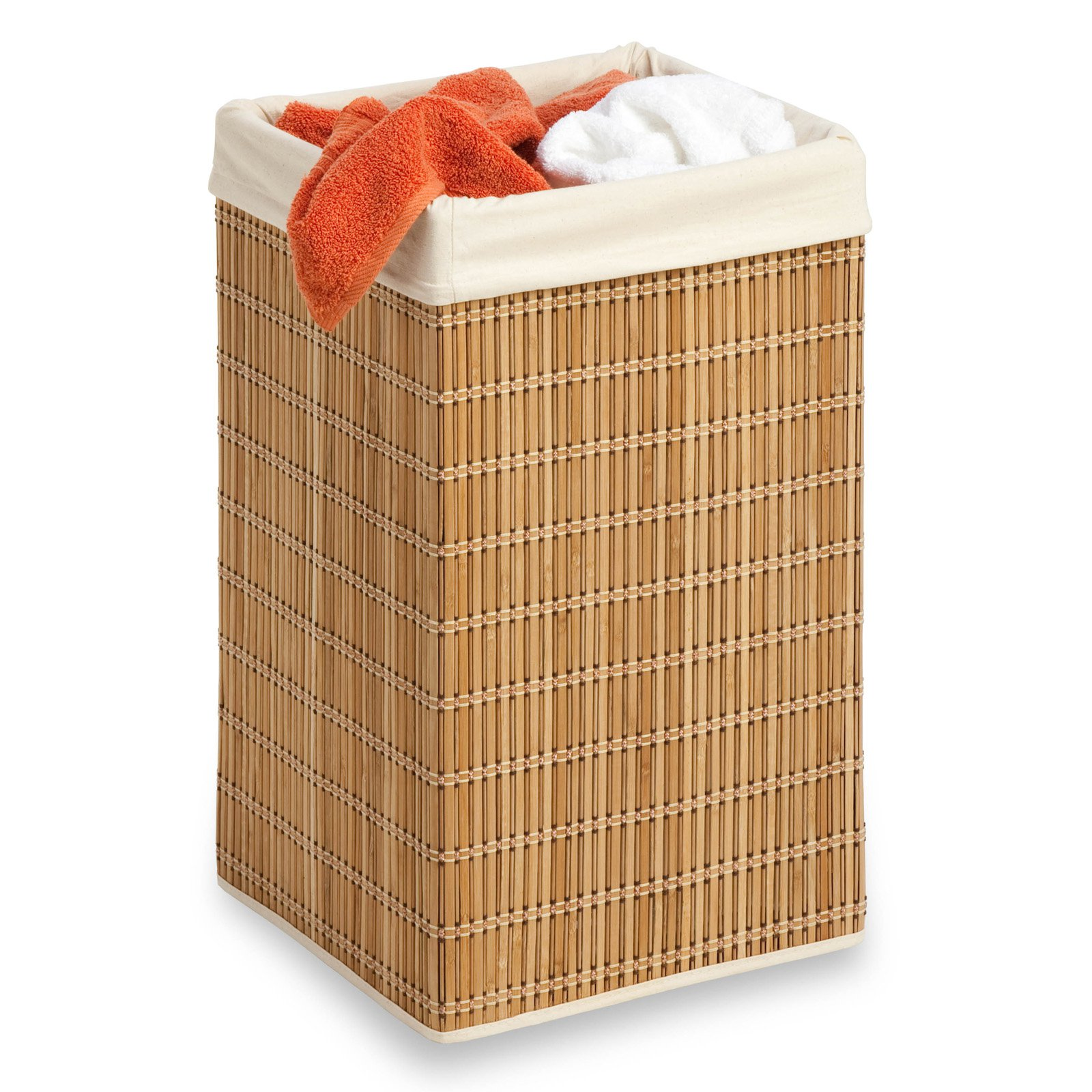 Honey Can Do Durable Square Bamboo Wicker Hamper, Brown