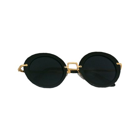c5d937be024a Kiss - Womens Black Round Lenses Flat Frame Gold Metal Bridge Sunglasses -  Walmart.com