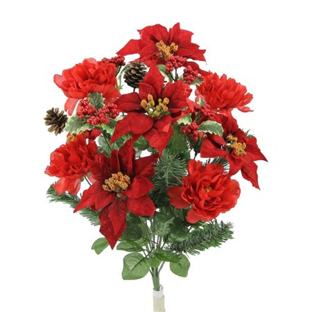 18 Stems Faux Peony Velvet Poinsettia Christmas Bush, - 18 Poinsettia