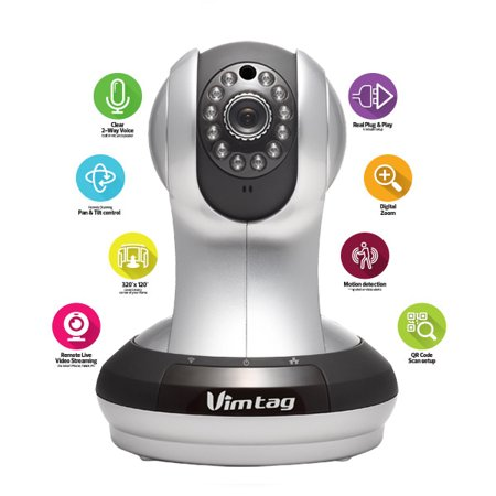 Vimtag VT-361 HD, IP/Network, Wireless, Video Monitoring, Surveillance, security camera, plug/play, Pan/Tilt with Two-Way Audio and Night Vision