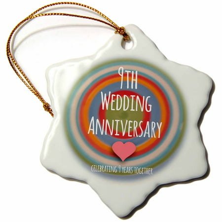 9th Wedding Anniversary Gift.3drose 9th Wedding Anniversary Gift Pottery Celebrating 9 Years Together Ninth Anniversaries Nine Yrs Snowflake Ornament Porcelain 3 Inch
