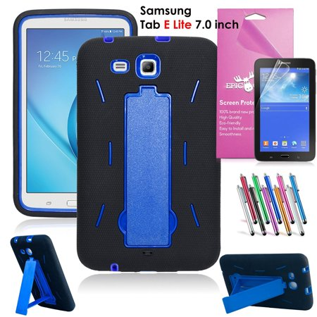 Samsung Galaxy Tab E Lite 7.0 Case, EpicGadget Heavy Duty Rugged Impact Hybrid Case with Build In Kickstand Protection Cover For Galaxy Tab E Lite 7 Inch Tablet T113 + Screen Film+ Pen (Black/Blue) (Asus 7 Inch Tablet Cases)