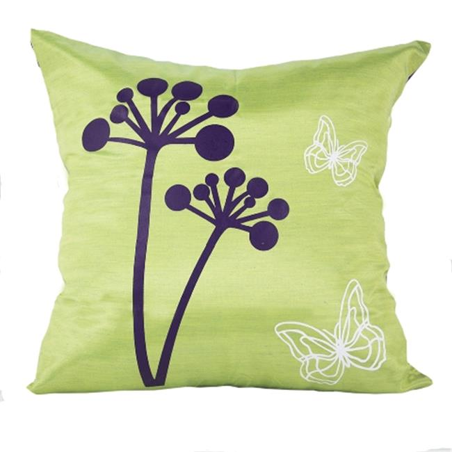 DecorFreak Silk Green & Purple Printed Throw Pillow Cover