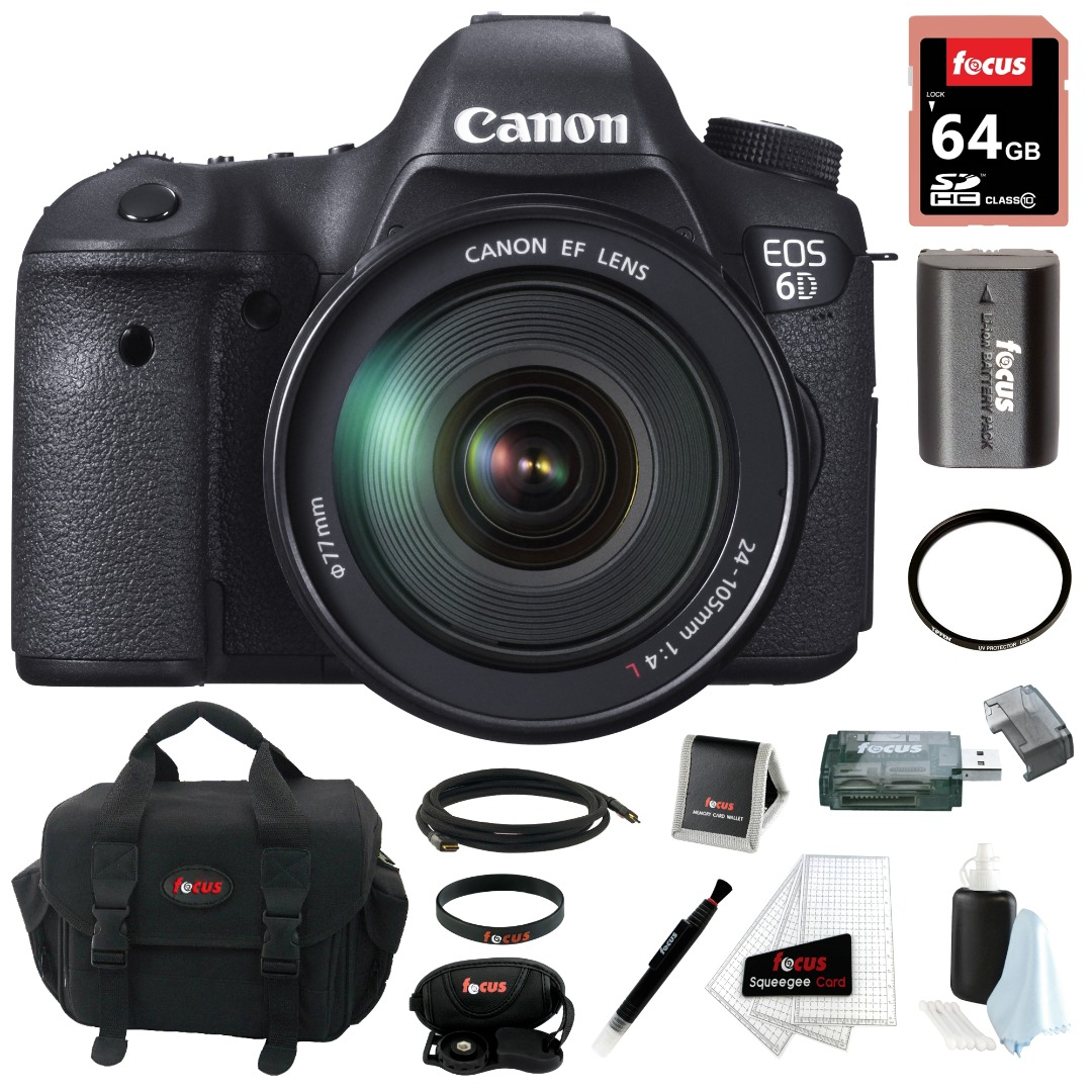 Canon EOS 6D 20.2MP Digital Camera with EF 24-105mm IS STM lens & 64GB Deluxe Accessory Kit