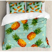 Retro Duvet Cover Set, Poly Style Pineapples Motif Vintage Beach Summer Modern Illustration, Decorative Bedding Set with Pillow Shams, Seafoam Olive Green Orange, by Ambesonne