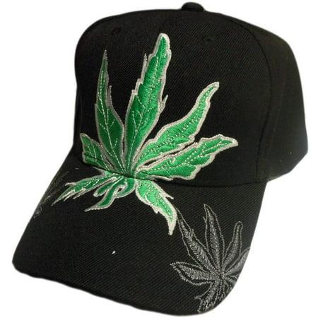 Marijuana Leaf Weed Cannabis Embroidered Baseball Hat (Black)