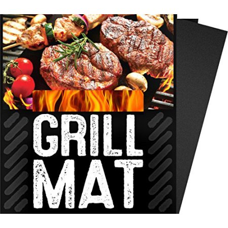 G&F 5-Piece-Set BBQ Grill Mat, 100 Percent Non Stick, Extra Thick Heavy Duty, Reusable, Dishwasher Safe, 13'' x 15.75'' x 0.2'', Black