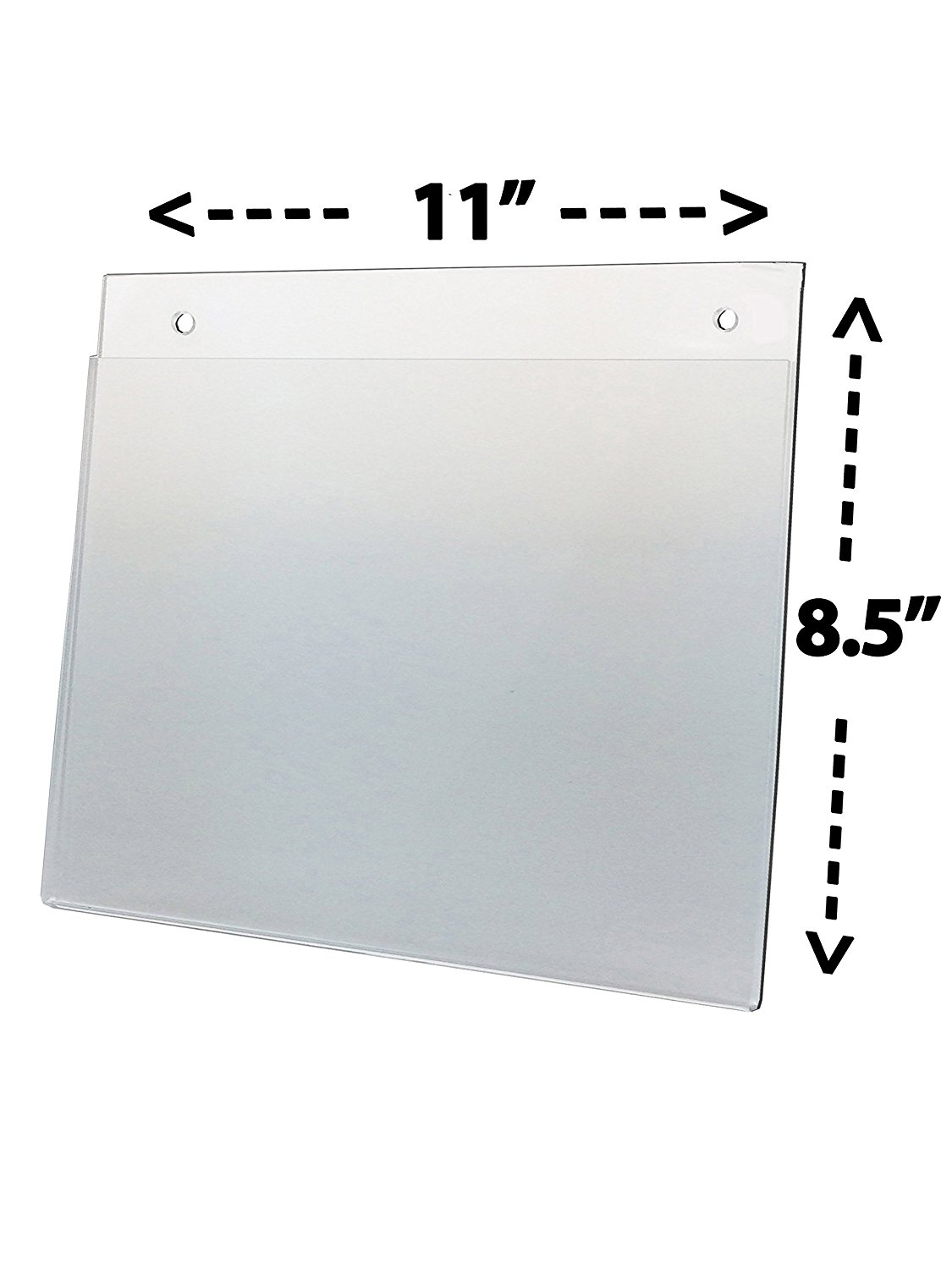 """6 Wall Mount Sign Holder Landscape Style 11 X 8 1 2, Qty 6 Top Side Load Viewable Area: 11""""w x 8 1... by"""