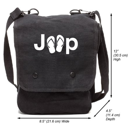 Jeep with Flip FlopsCanvas Crossbody Travel Map Bag Case, Black & White](Mlp Bags)