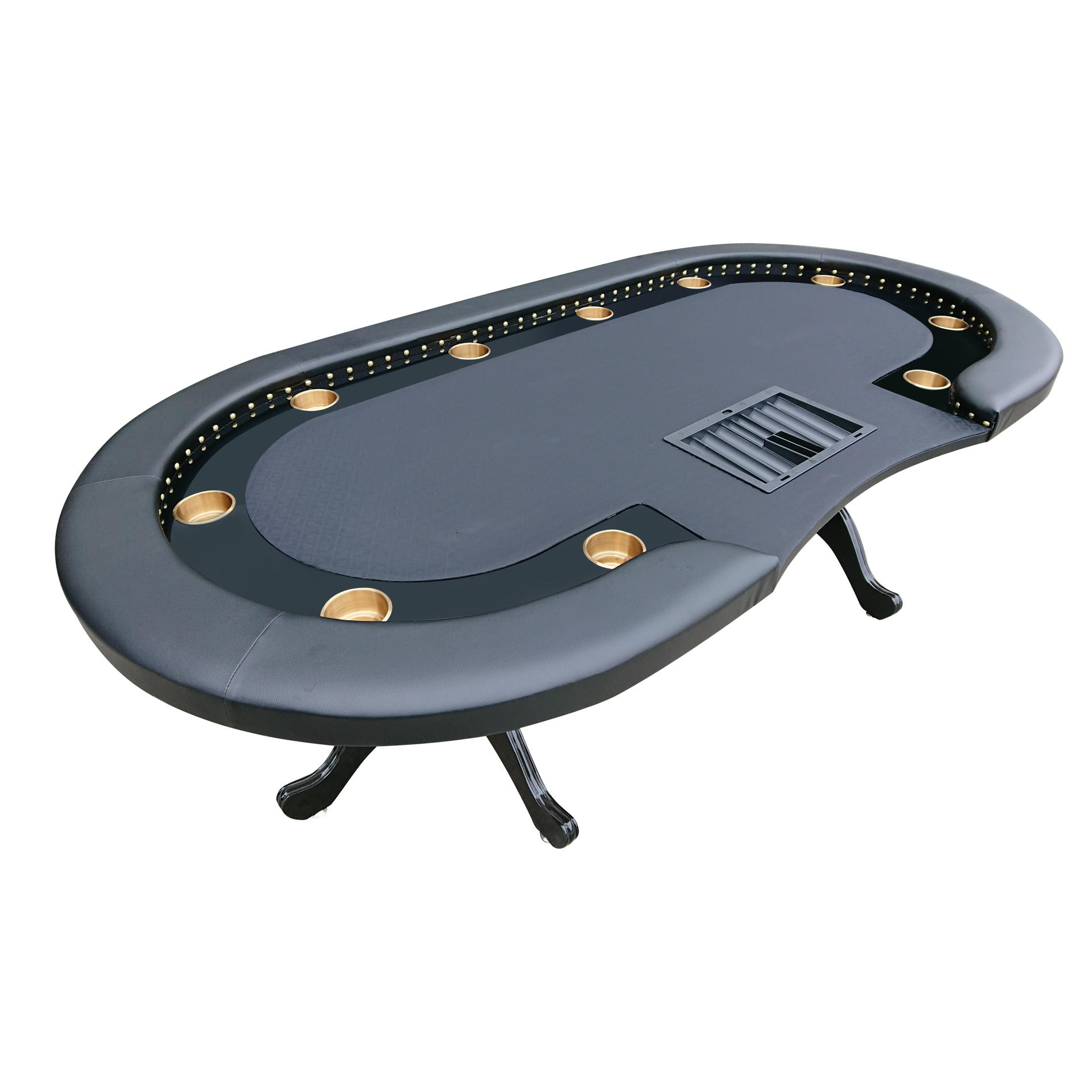 Poker Table for 10 Players 94 x 47 Inch Oval Rivet Black Speed Cloth 350 Chip Dealer Tray Clawfoot By IDS... by IDS
