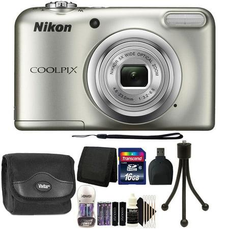 Nikon COOLPIX A10 16.1 MP Compact Digital Camera Silver + 16GB Starter Bundle