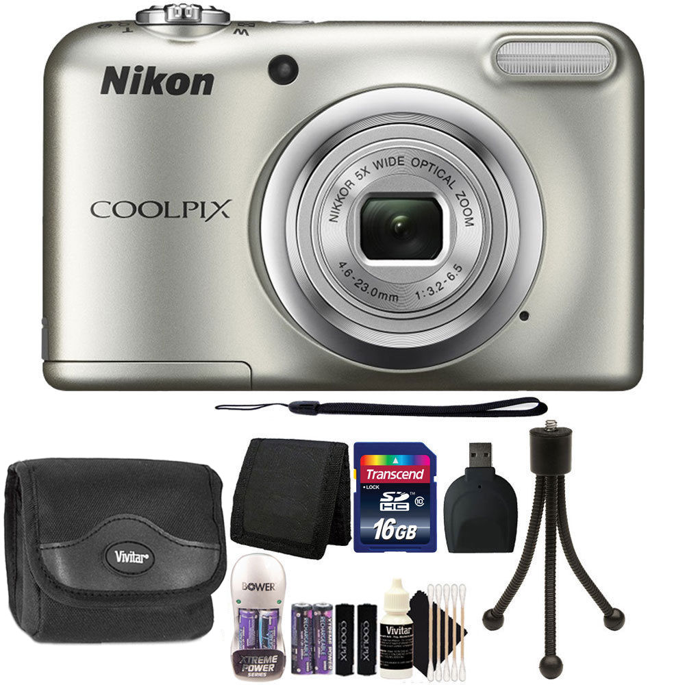 Nikon COOLPIX A10 16.1 MP Compact Digital Camera Silver + 16GB Starter Bundle