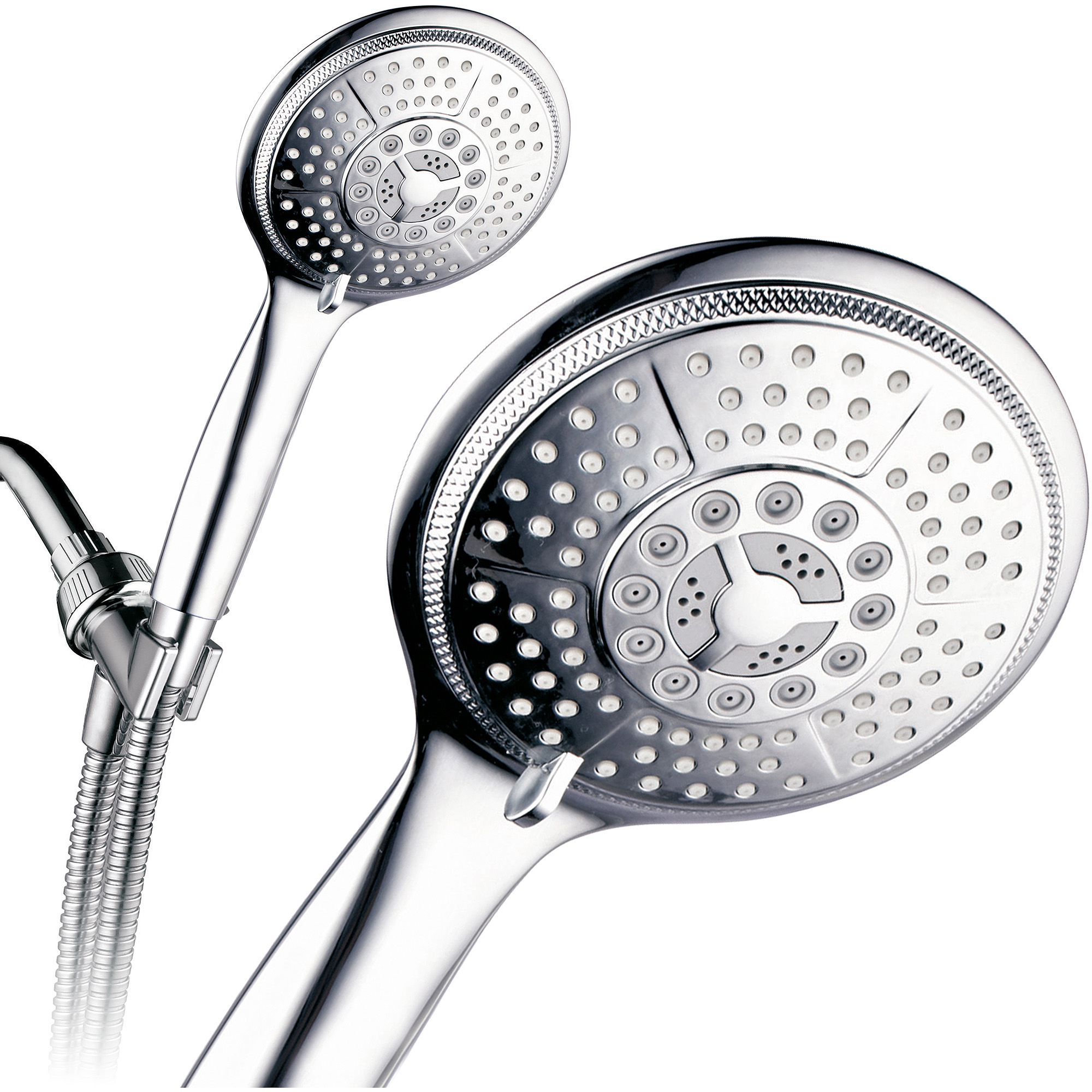 "PowerSpa Extra-Large 5"" Face 7-Setting Luxury Rainfall Hand Shower, Chrome"